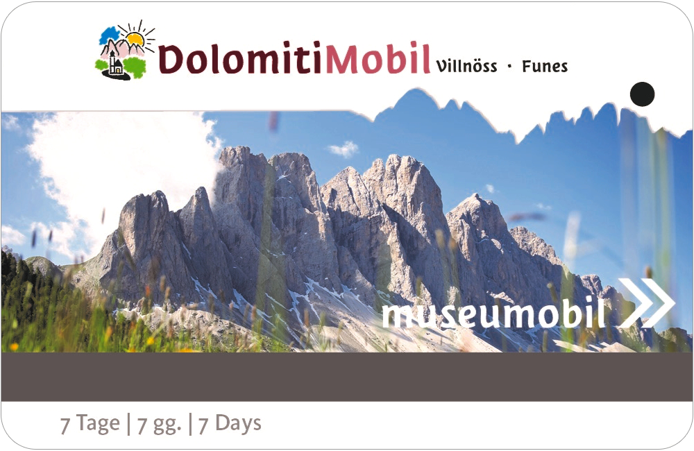 "DolomitiMobil Card ""All inclusive"" holiday in Villnöss valley in the Dolomites"